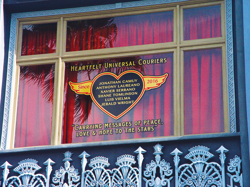 A memorial window at Universal Studios