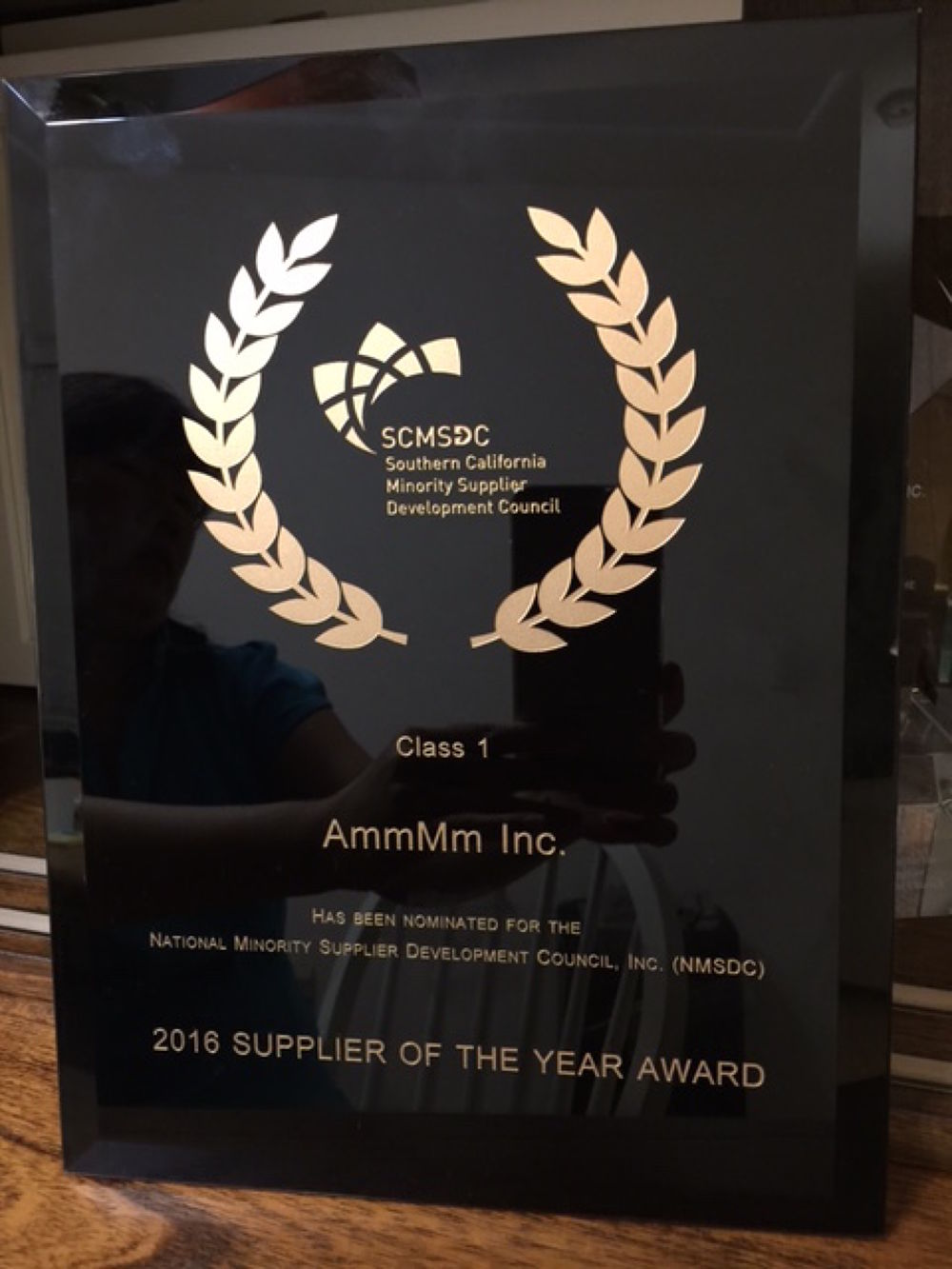 Southern California Minority Supplier Development Council's Supplier of the Year award